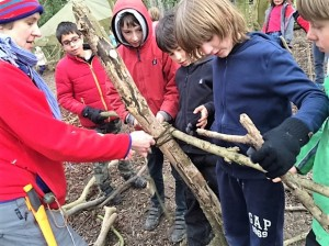 Forest School 2016 - Building a shelter